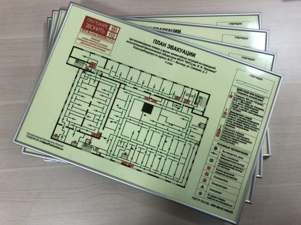 Этажный план эвакуации фотолюминесцентный, на ПВХ пластике, формат А2, в алюминиевой рамке